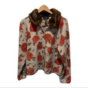 Mercer & Madison wool faux fur collar Cardigan